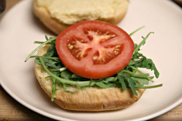 "BBQ Pulled Chicken BLT Sandwich - the ""LT"" aka Arugula and Tomato 