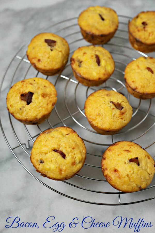 Bacon Egg and Cheese Muffins from CookingInStilettos.com are the perfect breakfast on the go with softly scrambled eggs, cheese and crisp bacon baked into a sweet corn muffin. Breakfast Recipes | Brunch Recipes | Grab and Go Breakfast | On The Go Recipes | Easy Breakfasts