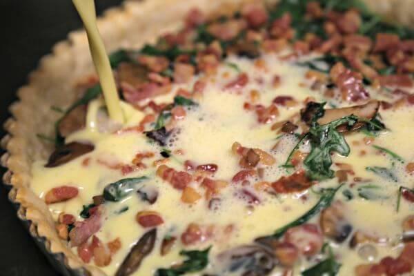 Smoky Pancetta Quiche - Adding the Custard | Cooking In Stilettos