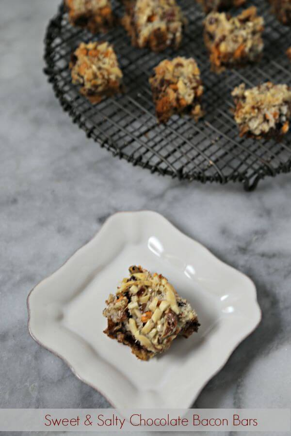 For the chocolate bacon fan, these Sweet and Salty Chocolate Bacon Bars will make them swoon. Unexpected flavors combine for a decadent sweet treat   Cooking In Stilettos