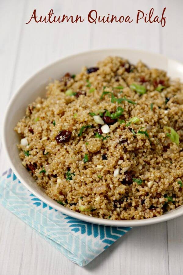 A fluffy fall inspired Autumn Quinoa Pilaf is the perfect side dish filled with tart Granny Smith apples, dried cranberries, cherries and fresh thyme. This is fabulous for pairing with your favorite Barber Foods Breaded Stuffed Chicken Breasts. Question is - which flavor is your favorite. | Cooking In Stilettos #SimplySpecialMeals #CBias #Sponsored