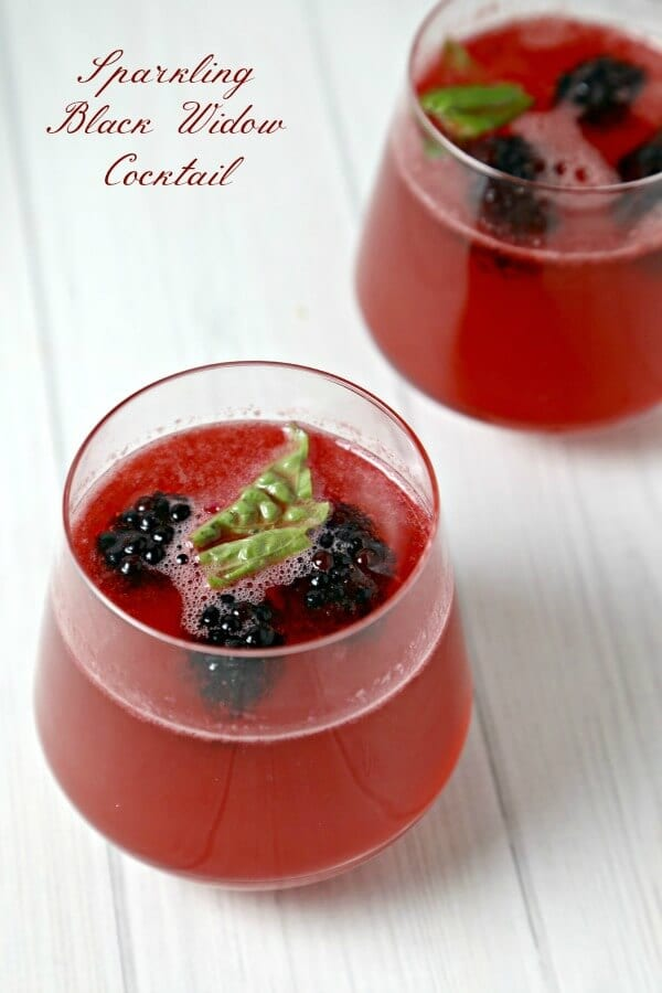 This Sparkling Black Widow Cocktail from CookingInStilettos.com has a lethal bite. Fresh blackberries and basil are muddled with Hornitos® Black Barrel Tequila and a touch of sweetness and sparkle. This libation is the perfect witch's brew | @CookInStilettos