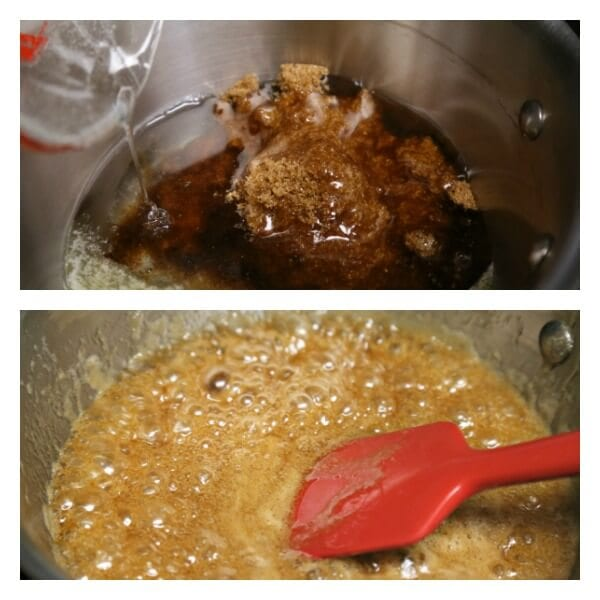 Chocolate Bourbon Pecan Pie - Caramel Mixture   CookingInStilettos.com