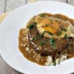 Meatless Loco Moco with Savory Onion Gravy | CookingInStilettos.com