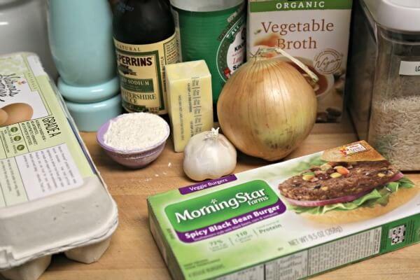 Meatless Loco Moco with Savory Onion Gravy -- Ingredients | CookingInStilettos.com