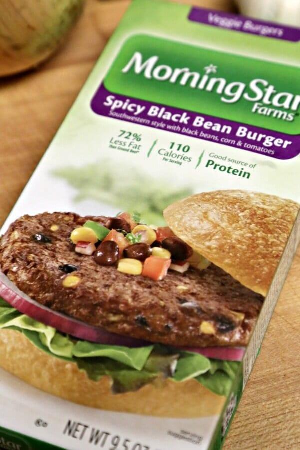 Meatless Loco Moco with Savory Onion Gravy -- MorningStar Farms Spicy Black Bean Veggie Burgers | CookingInStilettos.com