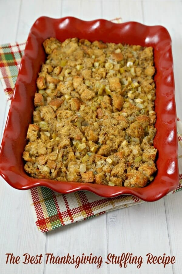 The Best Thanksgiving Stuffing Recipe from CookingInStilettos.com - stuffing or dressing - the eternal debate goes on. This classic from scratch recipe needs to be on your holiday table and is so easy to make with just a few ingredients. | #Thanksgiving #Stuffing #Dressing #SideDish | Bread Stuffing | Bread Dressing | Homemade Holiday Sides | Bread | Easy Side Dish Recipe | @CookInStilettos