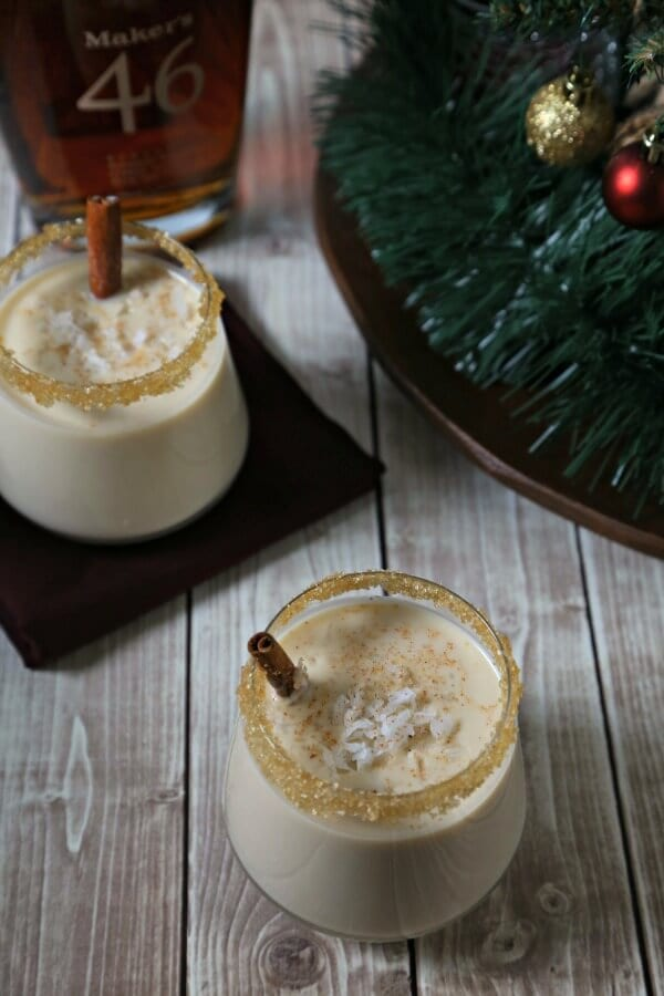 This luscious Aloha Style Homemade Eggnog from CookingInStilettos.com has the flavors of coconut, vanilla, and spice with a splash of Maker's 46® bourbon – perfect for the holidays! #Eggnog #Bourbon #Homemade #Christmas #Hawaiian | Polynesian | Bourbon | Homemade Eggnog Recipe | Coconut | Cinnamon