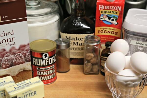Bourbon Soaked Eggnog Cake - Ingredients   CookingInStilettos.com