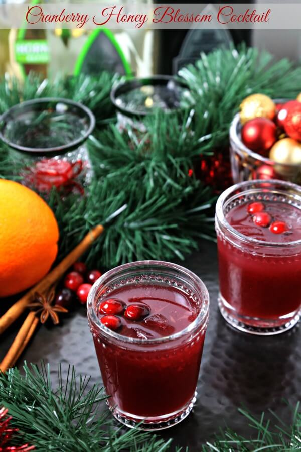 This Cranberry Honey Blossom Cocktail from CookingInStilettos.com is a festive cocktail for the holidays. Tart cranberries and sweet orange meld with tequila and a touch of spiced honey syrup for the perfect sip.