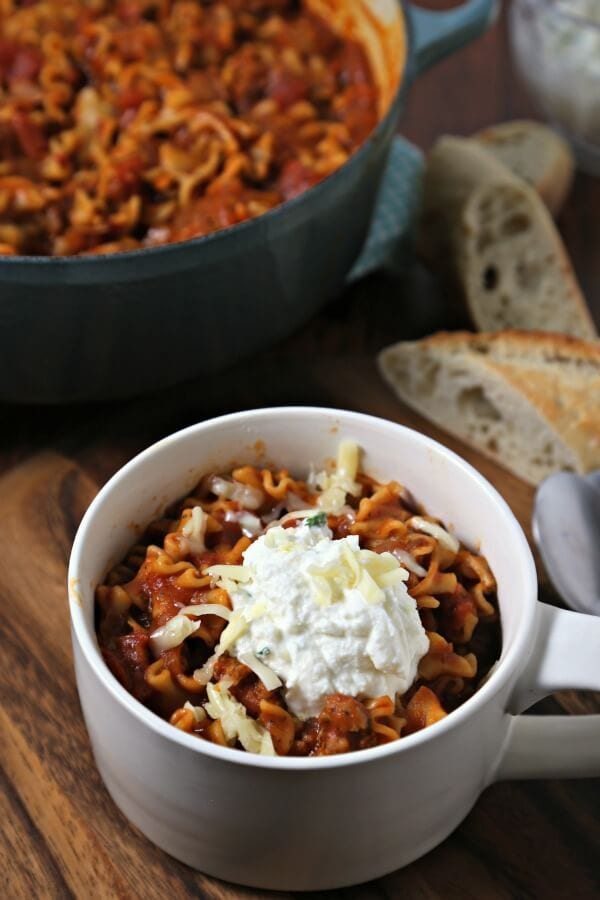Easy Three Cheese Lasagna Soup | CookingInStilettos.com