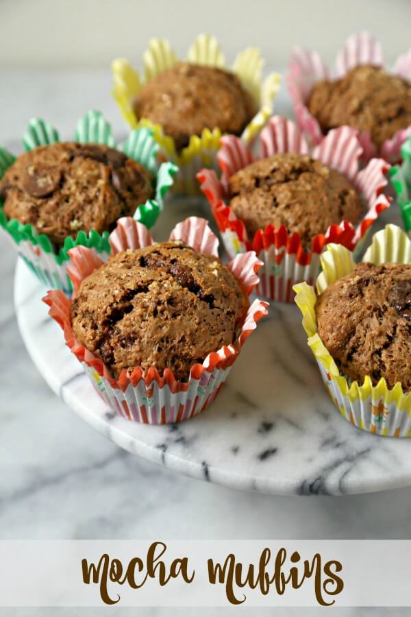 Mocha Muffins from CookingInStilettos.com are a delicious way to start the day. Dark chocolate and strong coffee are baked into the perfect grab and go breakfast bite!