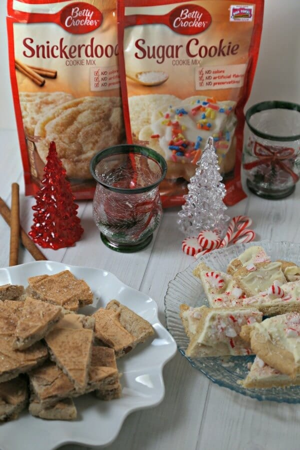 Spread cheer this holiday season with Peppermint Cookie Bark and Snickerdoodle Cookie Bark from CookingInStilettos.com! This festive holiday treat is easy to make thanks to @BettyCrocker &  @HerseyCompany and is a must for the holiday cookie tray.  #SpreadCheer @acmemarkets #Sponsored | #Cookie | #Holiday | Cookie Bark | Cookie Tray | Snickerdoodle | Peppermint | Christmas Cookies | Easy Recipe | Dessert
