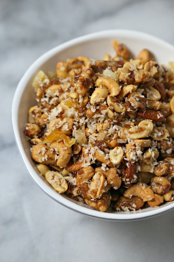 Tropical Spiced Mixed Nuts | CookingInStilettos.com