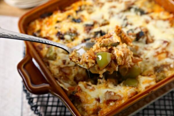Chicken Fajita Queso Fundido | CookingInStilettos.com