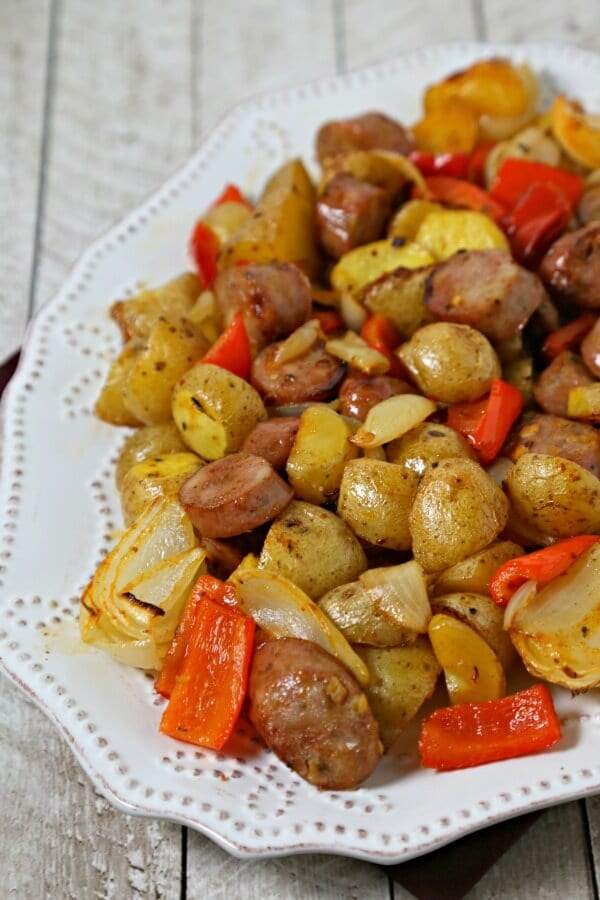 Roasted Chicken Sausage and Potatoes Tray-Bake | CookingInStilettos.com