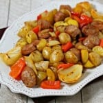 Roasted Chicken Sausage And Potatoes Tray Bake