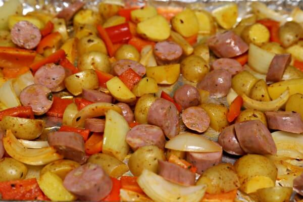 Roasted Chicken Sausage and Potatoes Tray-Bake - Sausage and Veggies | CookingInStilettos.com