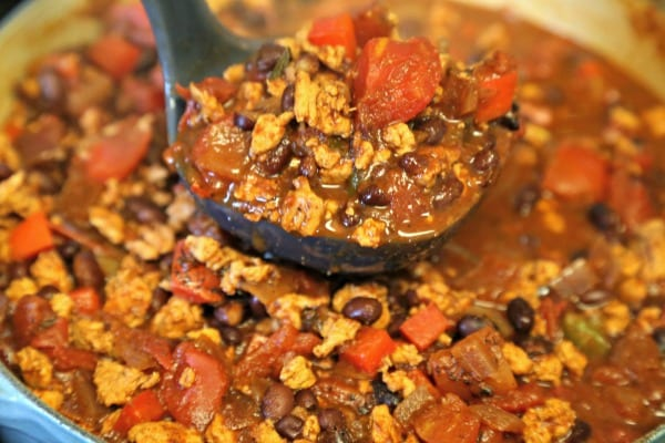 Baja Chicken Chili - Ladling Out The Chili | CookingInStilettos.com