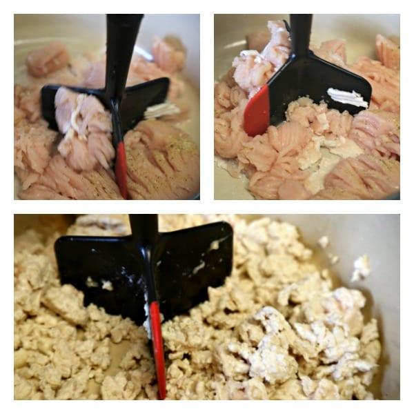 Baja Chicken Chili - Breaking Up the Ground Meat | CookingInStilettos.com
