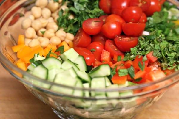 Middle Eastern Chickpea Salad - Fresh Veggies | CookingInStilettos.com