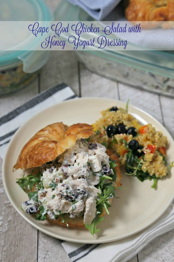 For summer potlucks and picnics, make this delicious Cape Cod Chicken Salad with Honey Yogurt Dressing from CookingInStilettos.com. Oven baked chicken is tossed with dried fruit, celery and pecans in a sweetly tangy yogurt dressing for the perfect chicken salad | @CookInStilettos