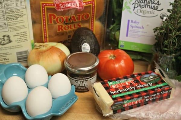 Cheesy Breakfast Burger - Ingredients   CookingInStilettos.com