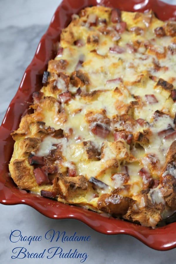 This Croque Madame Bread Pudding from CookingInStilettos.com will be the hit of your next weekend brunch. The flavors of the familiar French classic come to life in an easy make ahead breakfast casserole   @CookInStilettos #BrunchWeek