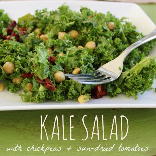 Delicious Dishes Recipe Party #29 | Kale Salad with Chickpeas and Sun-Dried Tomatoes