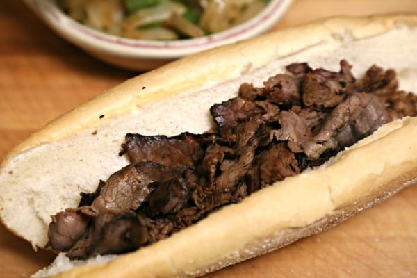 Philly Cheesesteak Hot Dogs - Adding a Layer of London Broil | CookingInStilettos.com