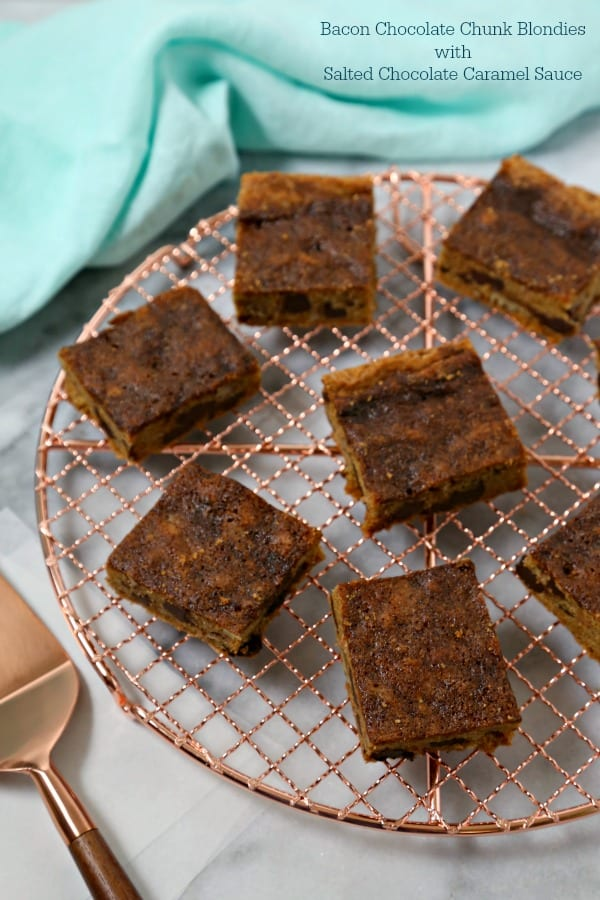 Bacon Chocolate Chunk Blondies With Salted Chocolate Caramel Sauce #BaconMonth