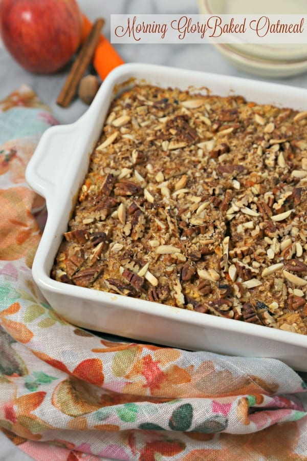This scrumptious Morning Glory Baked Oatmeal from CookingInStilettos.com is a delicious and healthy way to start the day, packed with apples, carrots, pecans, coconut and dried cherries. This baked oatmeal recipe is perfect for breakfast or a lazy weekend brunch! | @CookInStilettos
