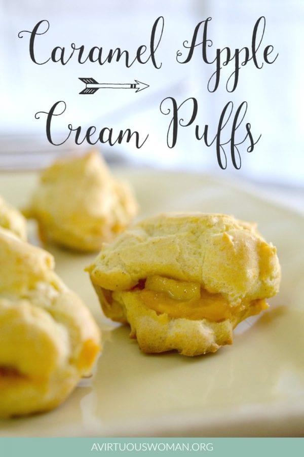 Delicious Dishes Recipe Party - Apple Recipes - Caramel Apple Cream Puffs | CookingInStilettos.com