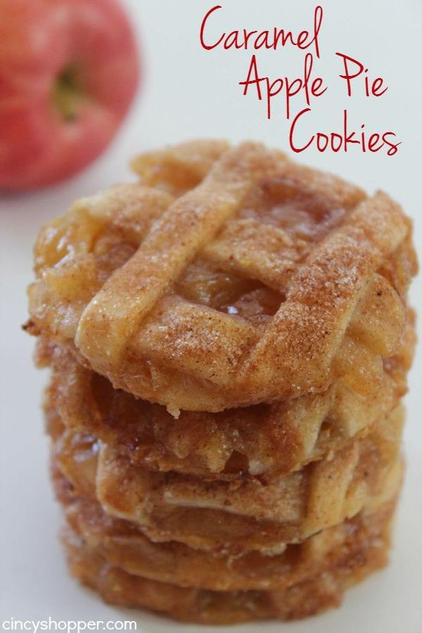 Delicious Dishes Recipe Party - Apple Recipes - Caramel Apple Pie Cookies | CookingInStilettos.com