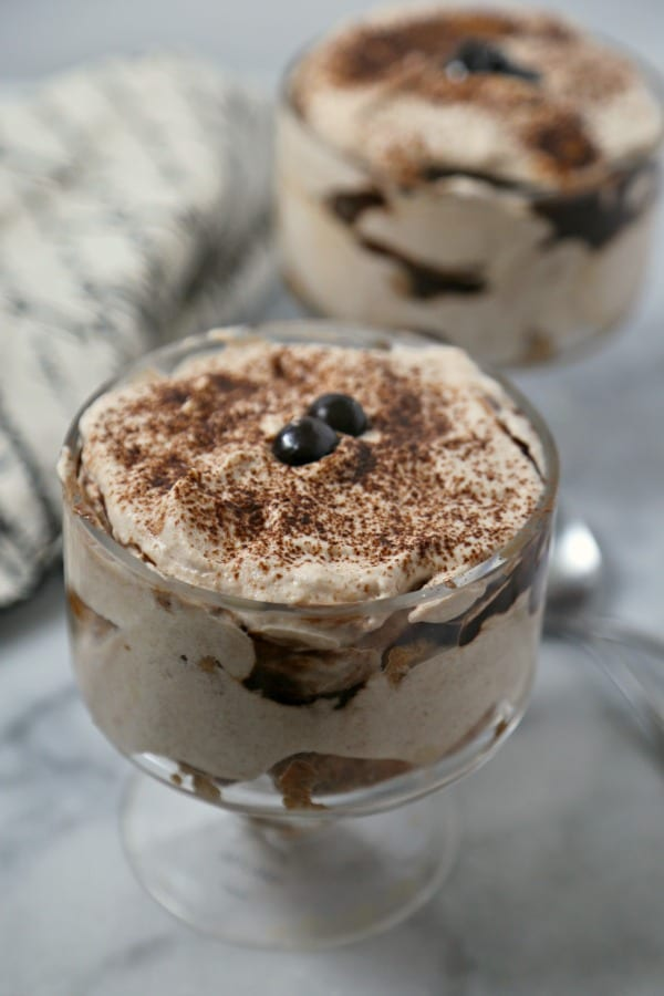 For a sweet treat to enjoy for your midday coffee break or after dinner, make these easy Chocolate Mocha Tiramisu Parfaits from CookingInStilettos.com. Creamy chocolate mocha mascarpone is layered with a rich mocha sauce and ladyfingers for the perfect pick-me-up! This easy no-bake dessert will be a family favorite!