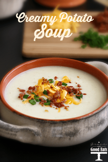 Delicious Dishes Recipe Party - Favorite Comfort Foods - Creamy Potato Soup from Grace & Good Eats | CookingInStilettos.com