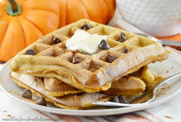 Delicious Dishes Recipe Party - Pumpkin Recipes- Easy Pumpkin Spice Waffles from Meatloaf and Melodrama | CookingInStilettos.com