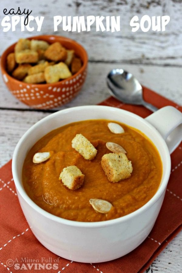 Delicious Dishes Recipe Party - Pumpkin Recipes - Easy Spicy Pumpkin Soup from A Worthey Read | CookingInStilettos.com