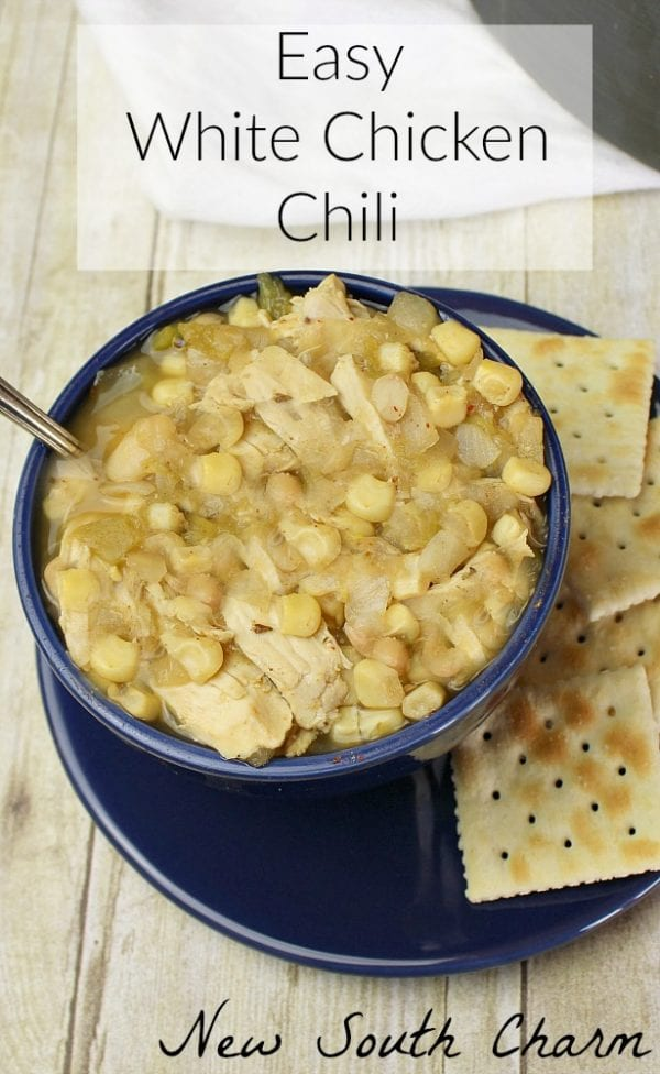 Delicious Dishes Recipe Party - Favorite Comfort Foods- Easy White Chicken Chili from New South Charm   CookingInStilettos.com