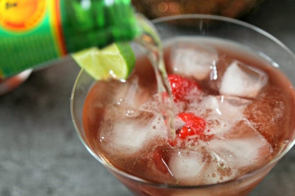 La Diabla Cocktail - Adding the Ginger Beer | CookingInStilettos.com