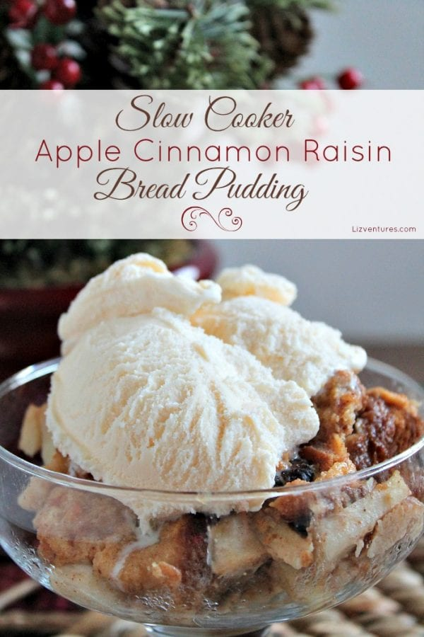 Delicious Dishes Recipe Party - Apple Recipes - Slow Cooker Apple Cinnamon Raisin Bread Pudding | CookingInStilettos.com