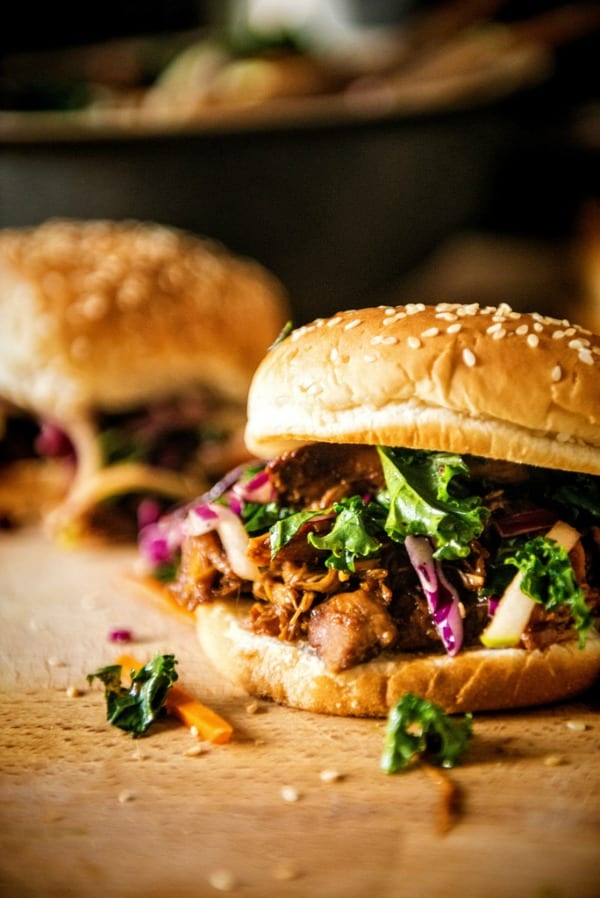 Delicious Dishes Recipe Party - Favorite Comfort Foods - Slow Cooker Hoisin Sliders with Kale Slaw from GirlCarnivore   CookingInStilettos.com
