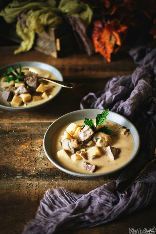 Delicious Dishes Recipe Party - Favorite Comfort Foods - Steak and Potato Soup from Girl Carnivore   CookingInStilettos.com