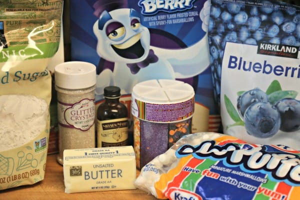 Blueberry Studded Boo Berry Cereal Treats - Ingredients   CookingInStilettos.com