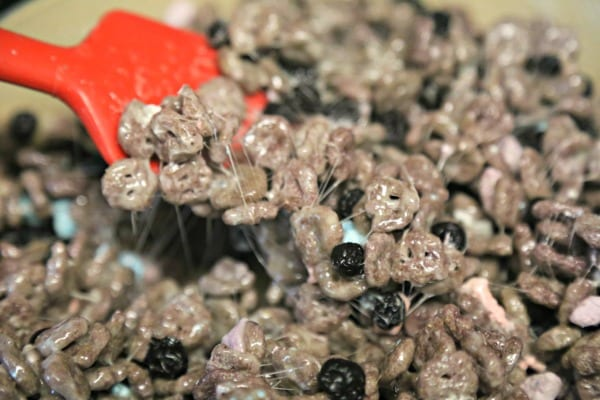 Blueberry Studded Boo Berry Cereal Treats- Time to Mix | CookingInStilettos.com