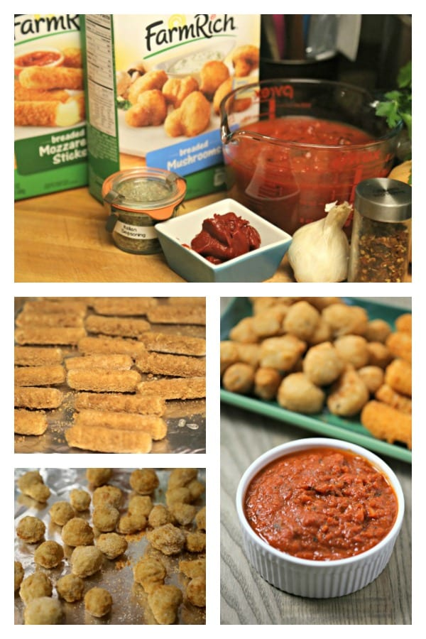 Easy Breaded Mushrooms and Mozzerella Sticks from Farm Rich with Easy 15 Minute Marinara Sauce | CookingInStilettos.com