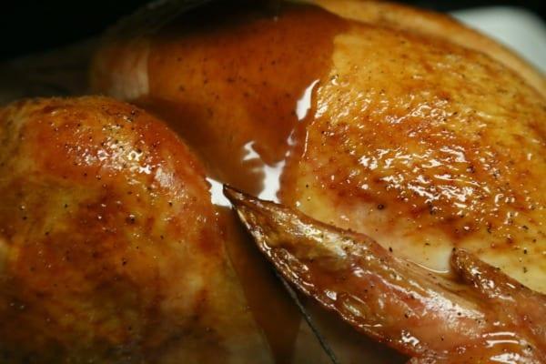Mustard Maple Glazed Roast Turkey with Homemade Gravy- Time to Glaze | CookingInStilettos.com