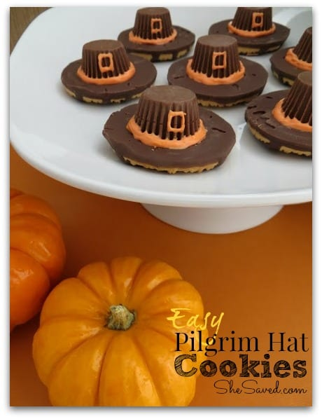 Delicious Dishes Recipe Party - Pie Recipes - Fun Last Minute Thanksgiving Treats- Pilgrim Hat Cookies from She Saved | CookingInStilettos.com