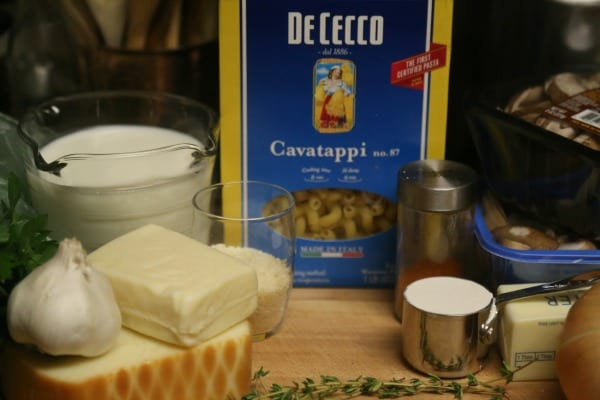 Three Cheese Baked Mushroom Pasta- Ingredients   CookingInStilettos.com