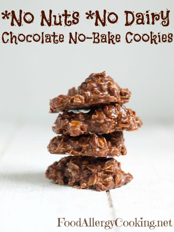 Delicious Dishes Recipe Party - New Year's Eve Appetizers - Dairy Free Nut Free No Bake Oatmeal Cookies from Food Allergy Cooking | CookingInStilettos.com